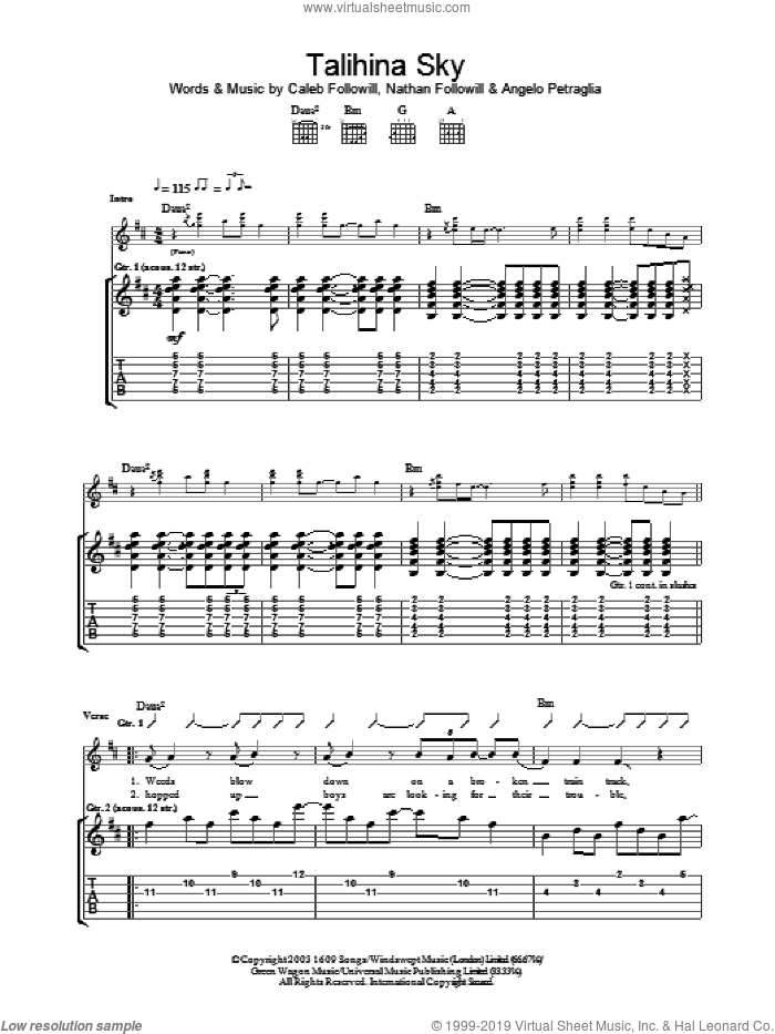 Talihina Sky sheet music for guitar (tablature) by Nathan Followill, Kings Of Leon, Angelo Petraglia and Caleb Followill. Score Image Preview.