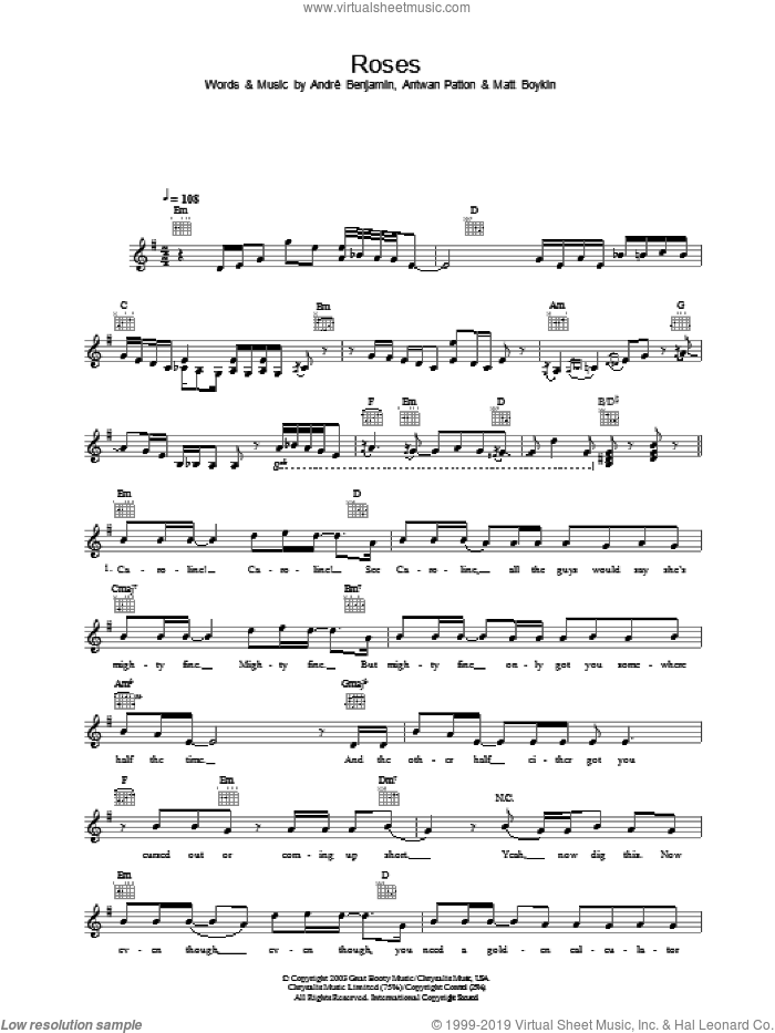 Roses sheet music for voice and other instruments (fake book) by OutKast, intermediate. Score Image Preview.