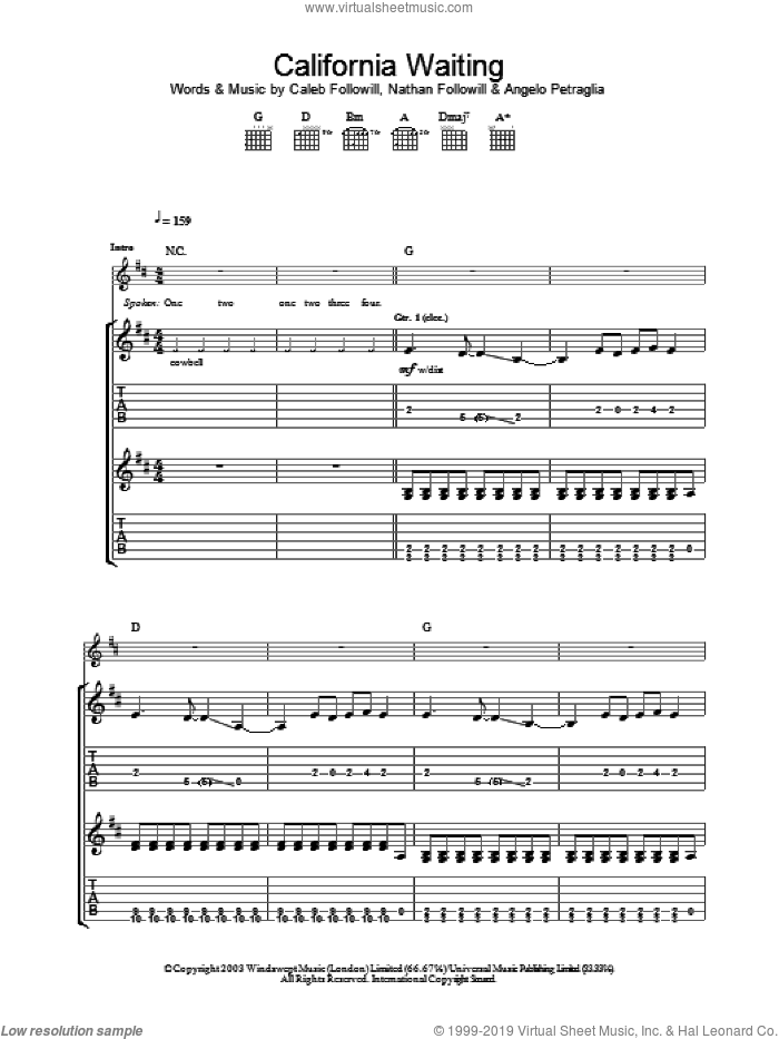 California Waiting sheet music for guitar (tablature) by Kings Of Leon. Score Image Preview.
