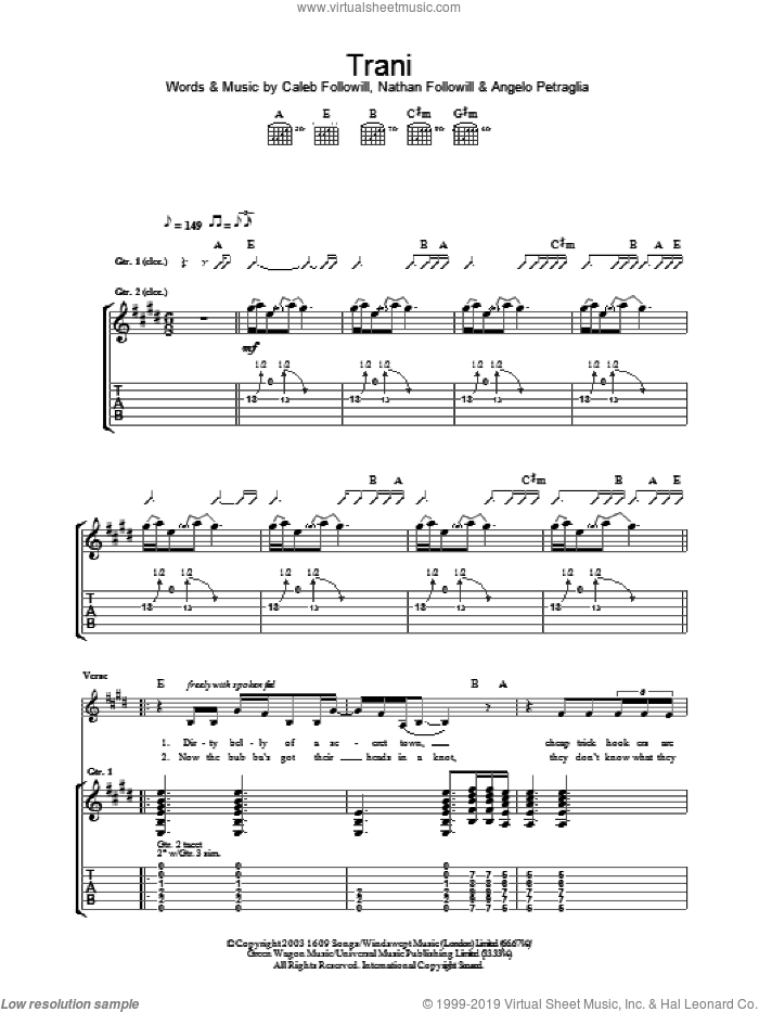 Trani sheet music for guitar (tablature) by Nathan Followill, Kings Of Leon, Angelo Petraglia and Caleb Followill. Score Image Preview.