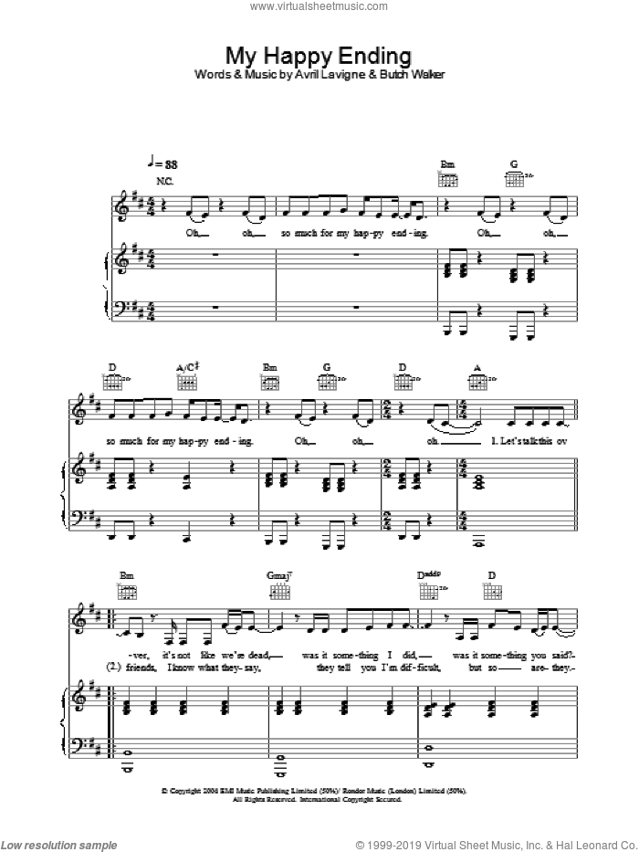 My Happy Ending sheet music for voice, piano or guitar by Avril Lavigne, intermediate