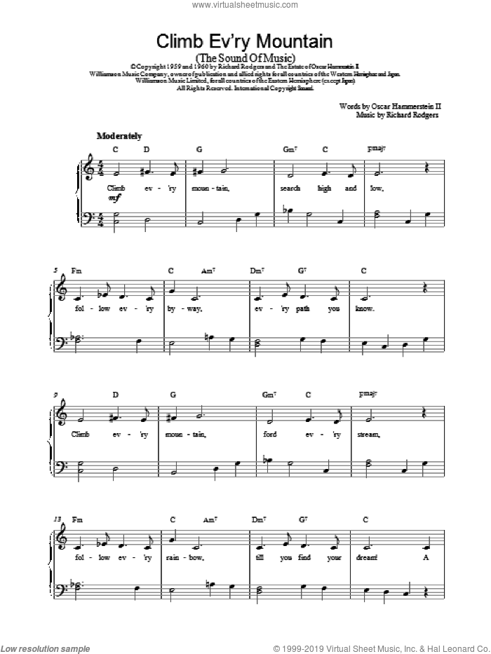 Climb Ev'ry Mountain sheet music for piano solo by Rodgers & Hammerstein, The Sound Of Music (Musical), Oscar II Hammerstein and Richard Rodgers, intermediate skill level