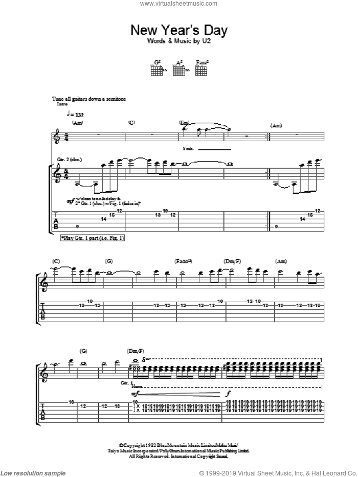 New Year's Day sheet music for guitar (tablature) by U2, intermediate. Score Image Preview.