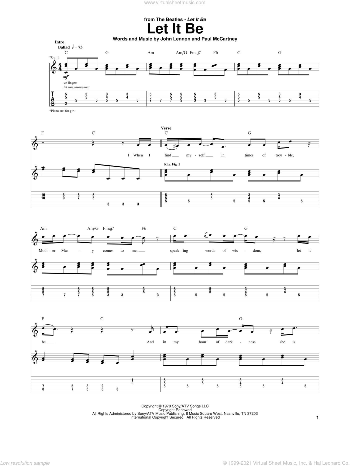 Let It Be sheet music for guitar (tablature) by The Beatles, John Lennon and Paul McCartney, intermediate skill level
