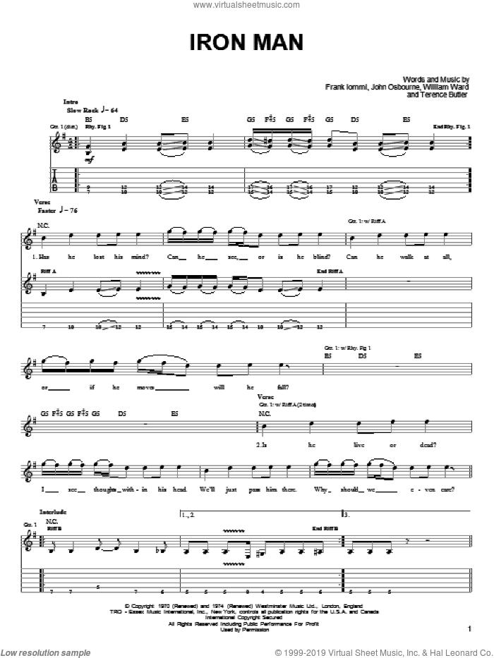 Iron Man sheet music for guitar solo (easy tablature) by Black Sabbath, Ozzy Osbourne, Frank Iommi, John Osbourne, Terence Butler and William Ward, easy guitar (easy tablature)