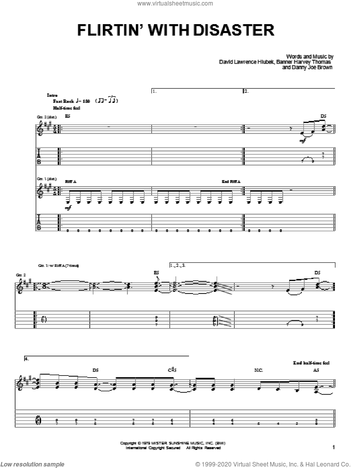 Flirtin' With Disaster sheet music for guitar solo (easy tablature) by David Lawrence Hlubek