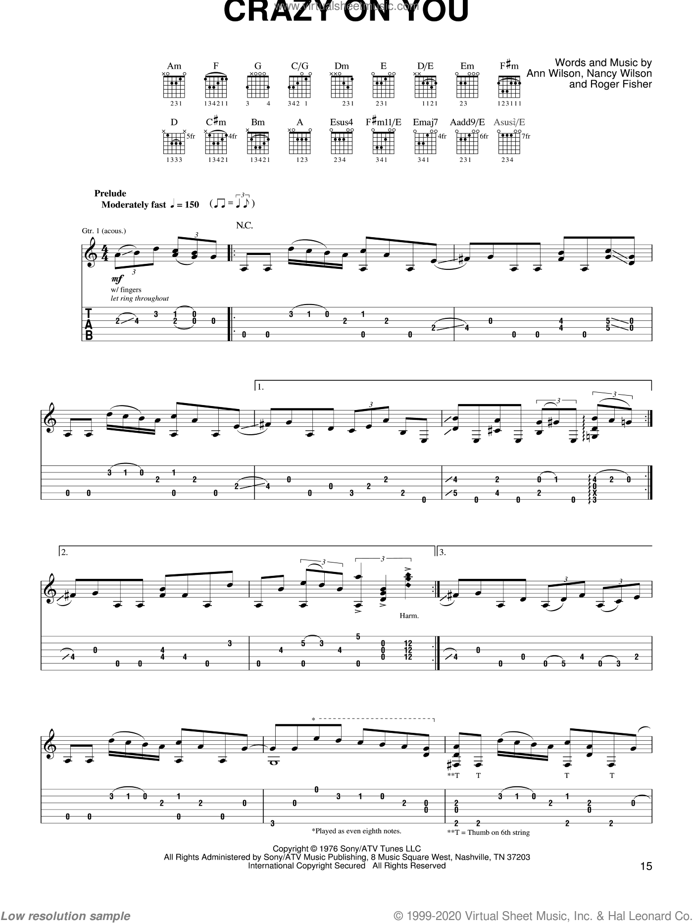 Crazy On You sheet music for guitar solo (easy tablature) by Roger Fisher
