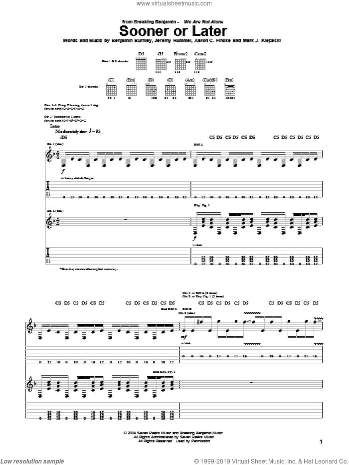 Sooner Or Later sheet music for guitar (tablature) by Breaking Benjamin, Aaron C. Fincke, Benjamin Burnley, Jeremy Hummel and Mark J. Klepaski, intermediate skill level