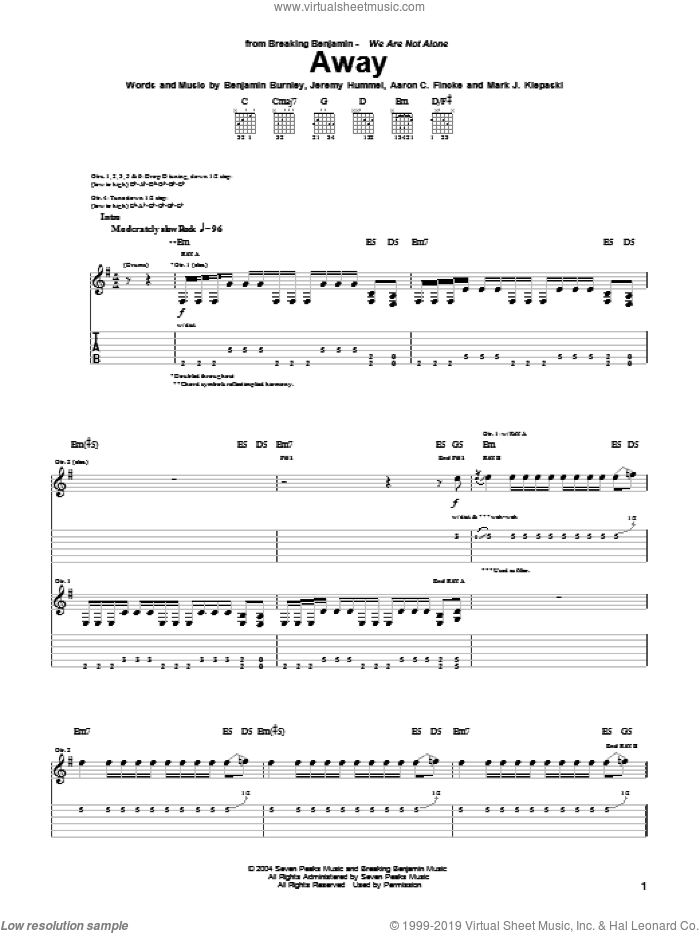 Away sheet music for guitar (tablature) by Breaking Benjamin, Aaron C. Fincke, Benjamin Burnley, Jeremy Hummel and Mark J. Klepaski, intermediate skill level