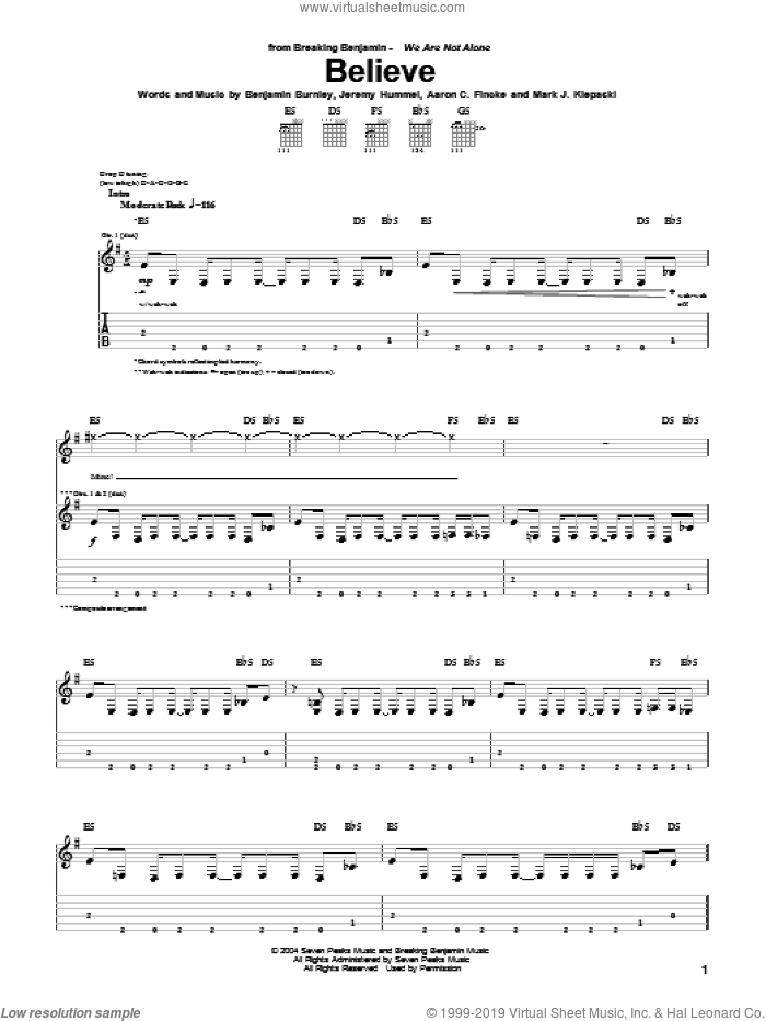 Believe sheet music for guitar (tablature) by Mark J. Klepaski and Benjamin Burnley. Score Image Preview.