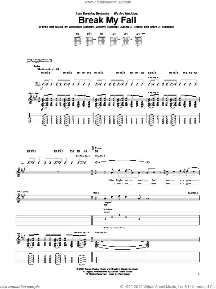 Break My Fall sheet music for guitar (tablature) by Breaking Benjamin, Aaron C. Fincke, Benjamin Burnley, Jeremy Hummel and Mark J. Klepaski, intermediate skill level