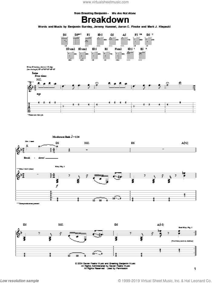 Breakdown sheet music for guitar (tablature) by Mark J. Klepaski