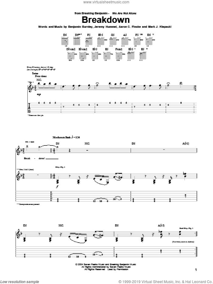 Breakdown sheet music for guitar (tablature) by Breaking Benjamin, Aaron C. Fincke, Benjamin Burnley, Jeremy Hummel and Mark J. Klepaski, intermediate skill level