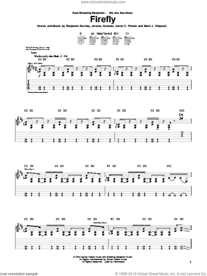 Firefly sheet music for guitar (tablature) by Breaking Benjamin, Aaron C. Fincke, Benjamin Burnley, Jeremy Hummel and Mark J. Klepaski, intermediate skill level
