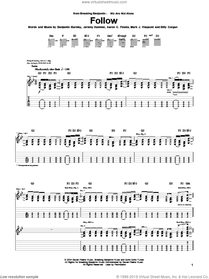 Follow sheet music for guitar (tablature) by Breaking Benjamin, Aaron C. Fincke, Benjamin Burnley, Billy Corgan, Jeremy Hummel and Mark J. Klepaski, intermediate skill level