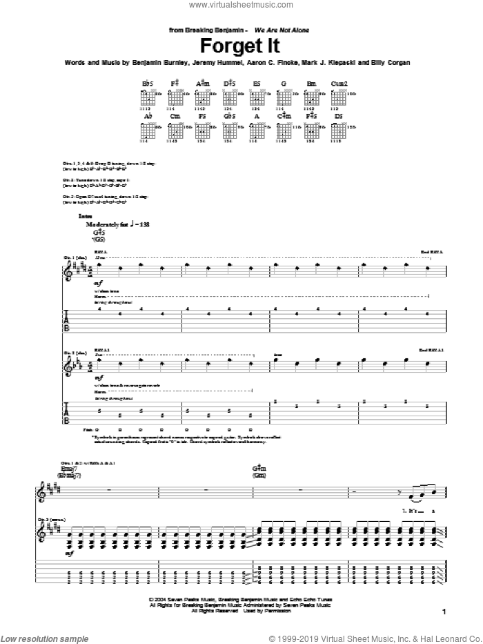 Forget It sheet music for guitar (tablature) by Breaking Benjamin, Aaron C. Fincke, Benjamin Burnley, Billy Corgan, Jeremy Hummel and Mark J. Klepaski, intermediate skill level