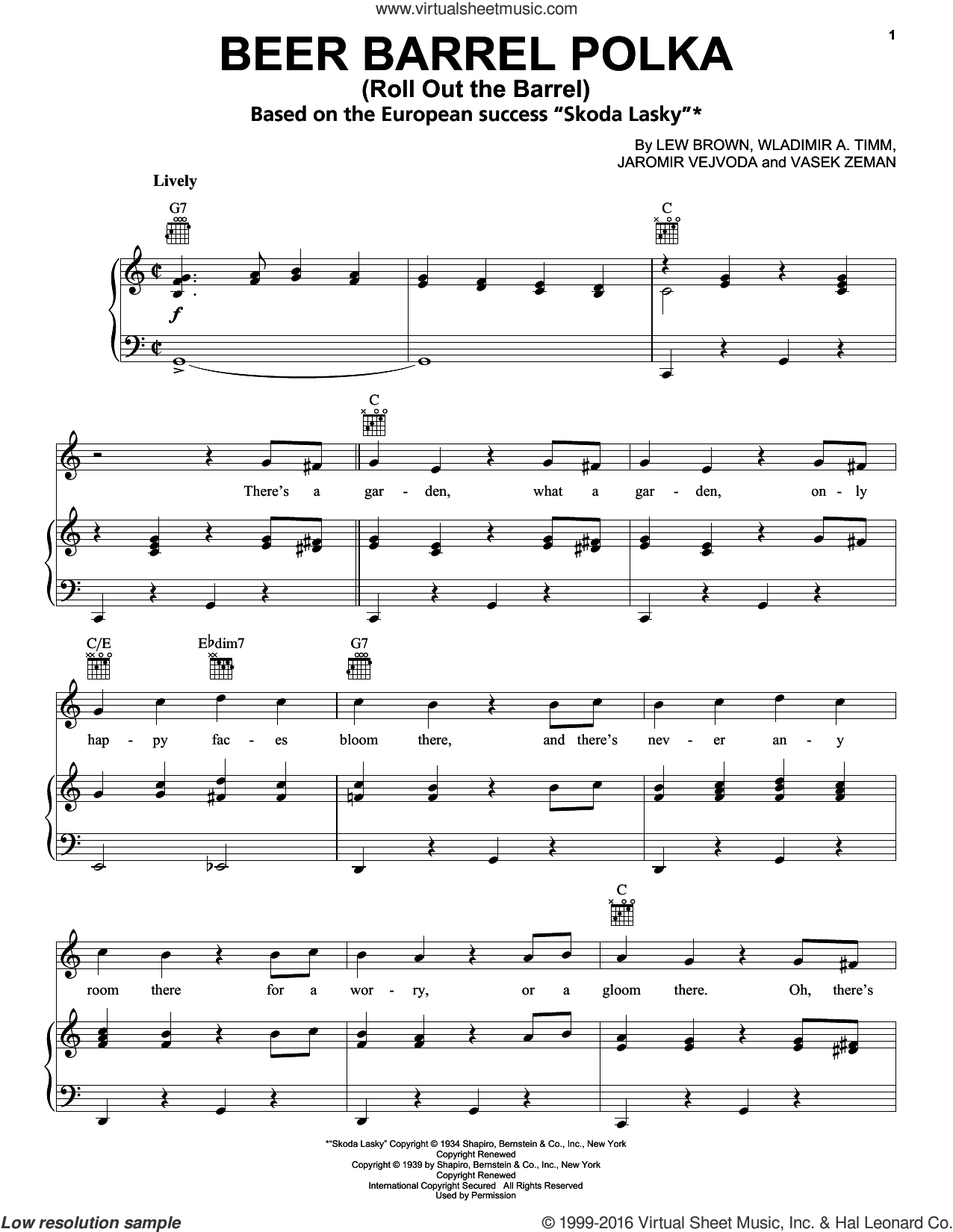 Beer Barrel Polka (Roll Out The Barrel) sheet music for voice, piano or guitar by Bobby Vinton, Jaromir Vejvoda, Lew Brown and Vasek Zeman, intermediate skill level