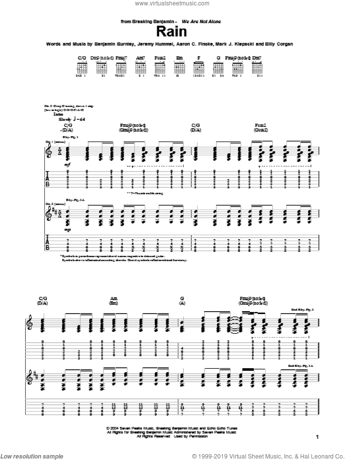 Rain sheet music for guitar (tablature) by Breaking Benjamin, Aaron C. Fincke, Benjamin Burnley, Billy Corgan, Jeremy Hummel and Mark J. Klepaski, intermediate skill level