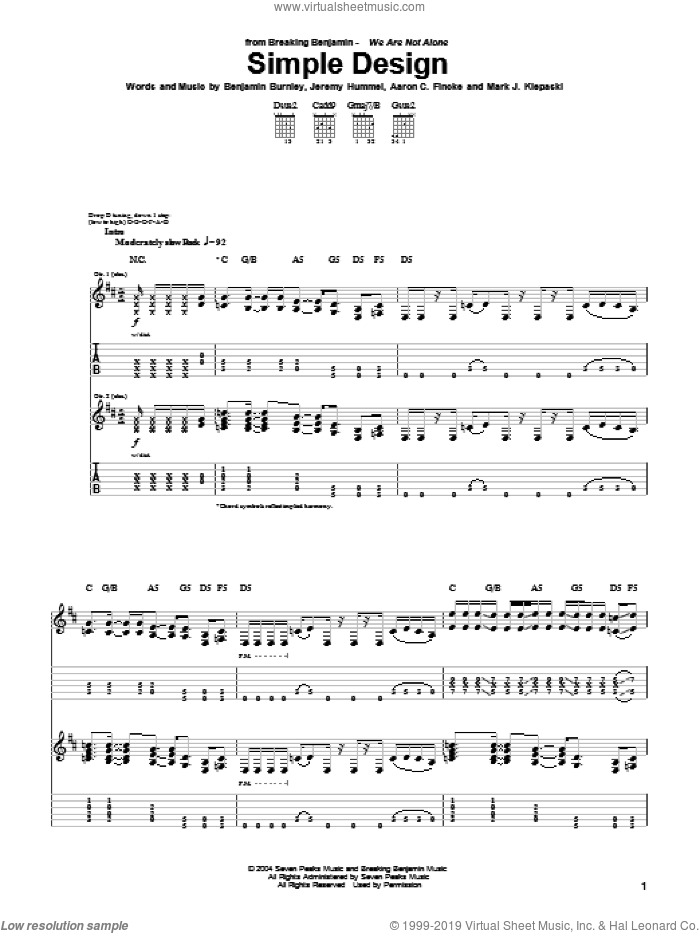 Simple Design sheet music for guitar (tablature) by Breaking Benjamin, Aaron C. Fincke, Benjamin Burnley, Jeremy Hummel and Mark J. Klepaski, intermediate skill level