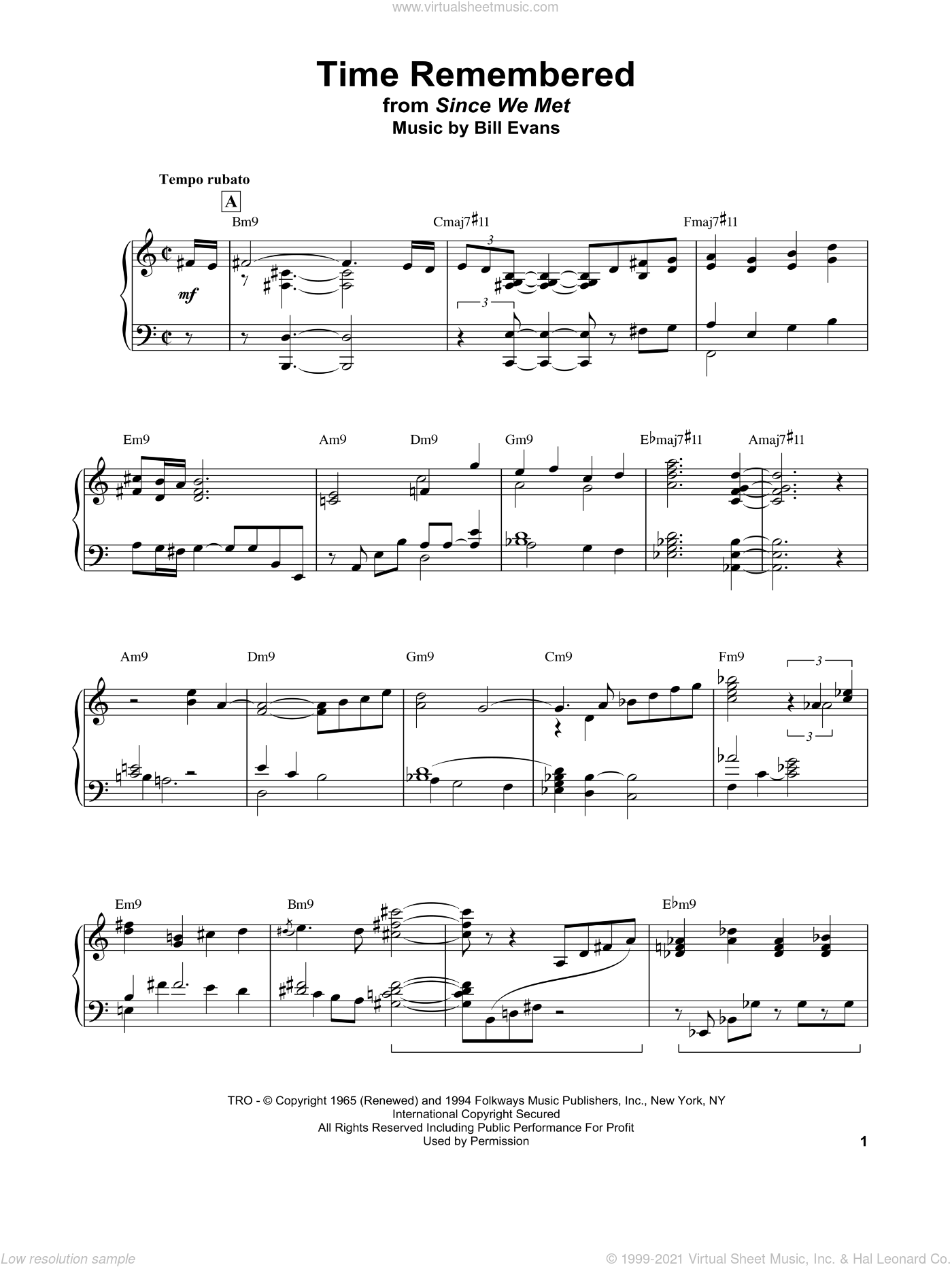 Time Remembered sheet music for piano solo by Bill Evans, intermediate