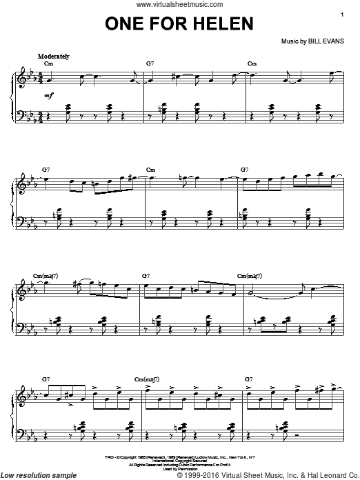 One For Helen sheet music for piano solo by Bill Evans. Score Image Preview.