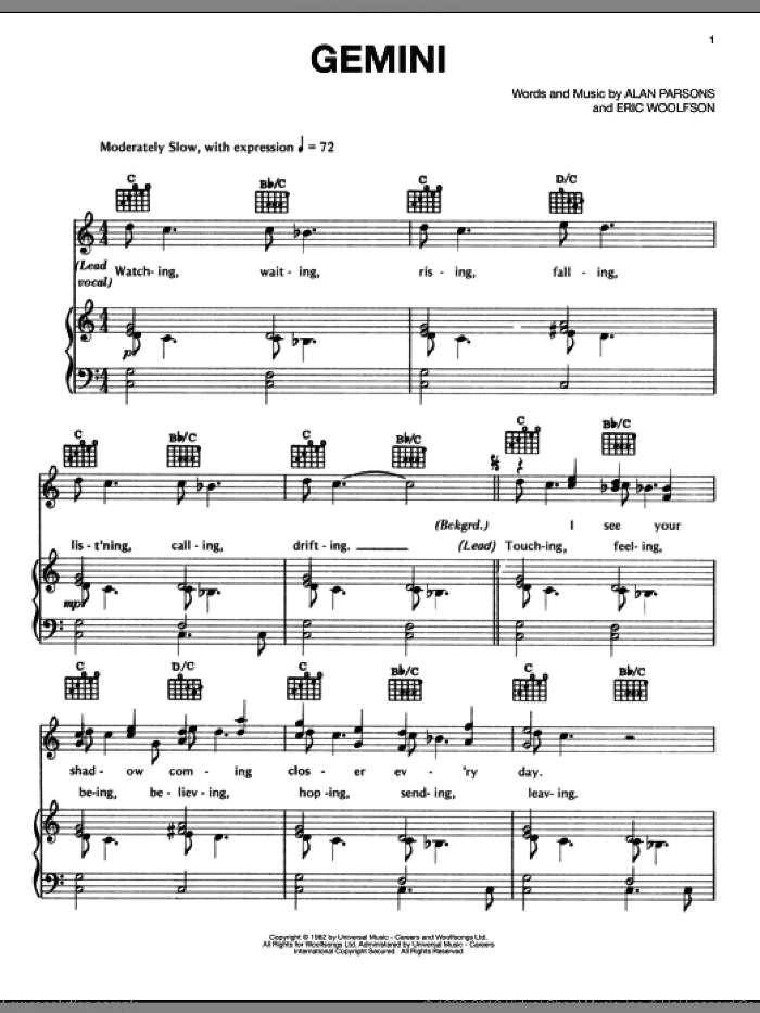 Gemini sheet music for voice, piano or guitar by Eric Woolfson. Score Image Preview.