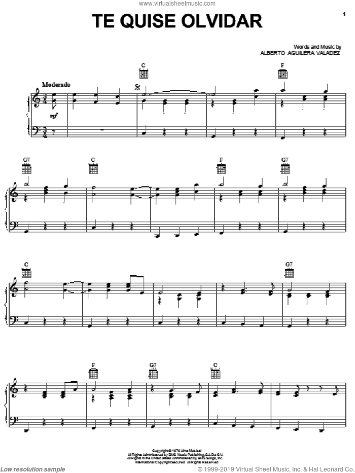 Te Quise Olvidar sheet music for voice, piano or guitar by Alberto Aguilera Valadez, intermediate skill level