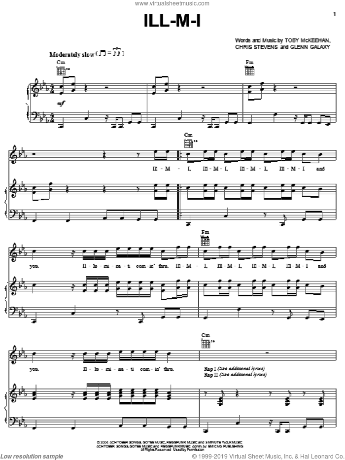 Ill-M-I sheet music for voice, piano or guitar by tobyMac, Chris Stevens, Glenn Galaxy and Toby McKeehan, intermediate skill level