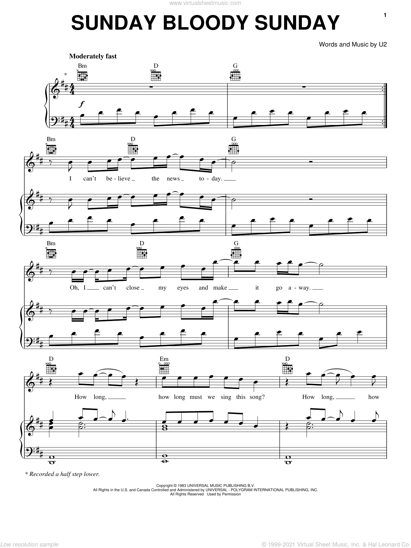 Sunday Bloody Sunday sheet music for voice, piano or guitar by U2, Bono and The Edge, intermediate skill level