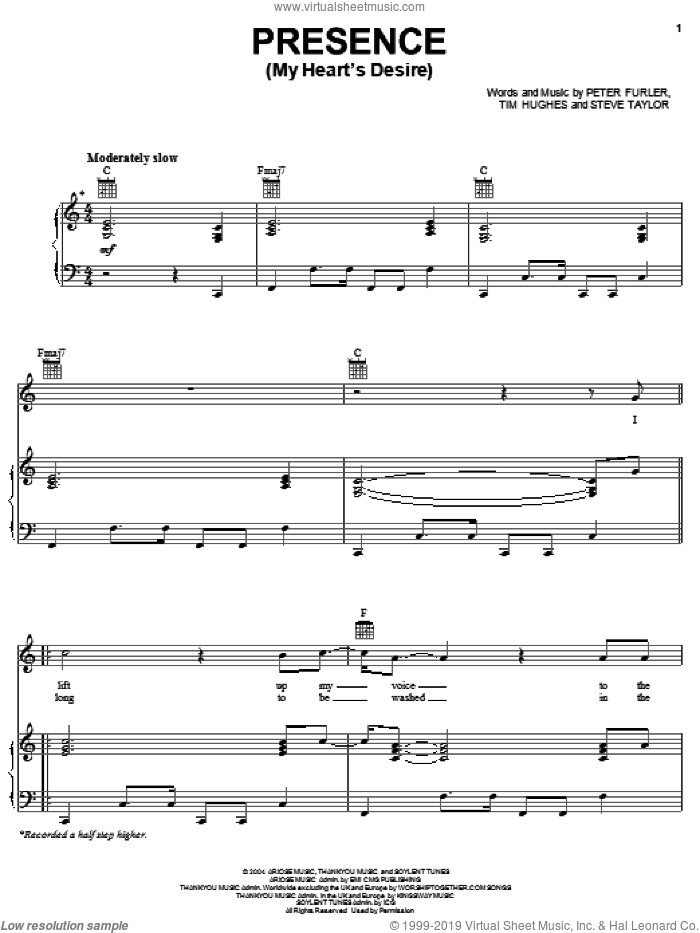Presence (My Heart's Desire) sheet music for voice, piano or guitar by Newsboys, Peter Furler, Steve Taylor and Tim Hughes, intermediate skill level