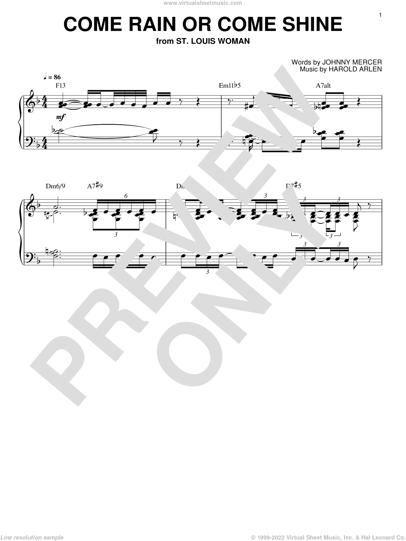 Come Rain Or Come Shine sheet music for piano solo by Bill Evans, Harold Arlen and Johnny Mercer, intermediate. Score Image Preview.
