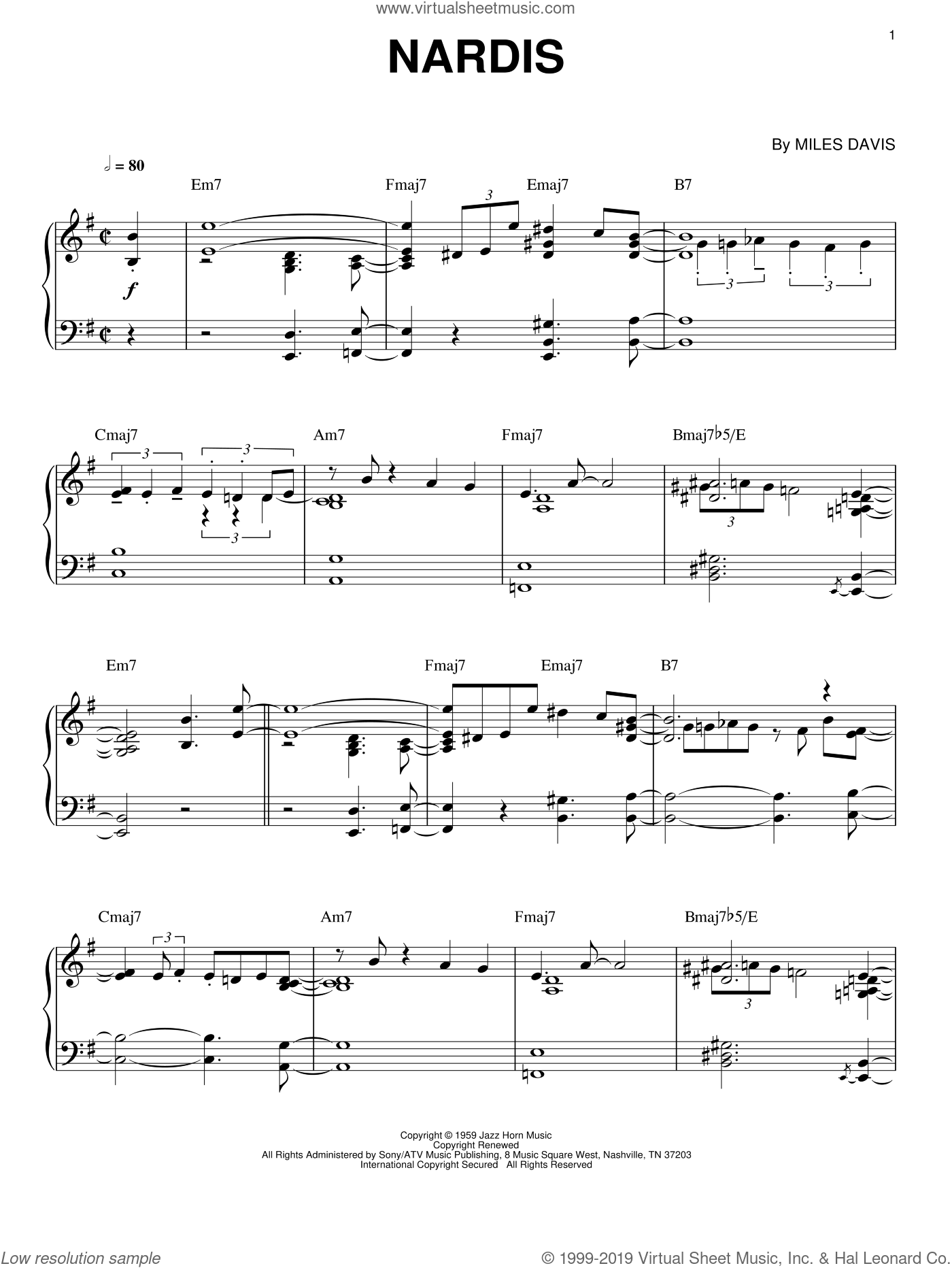 Nardis sheet music for piano solo by Miles Davis and Bill Evans, intermediate skill level