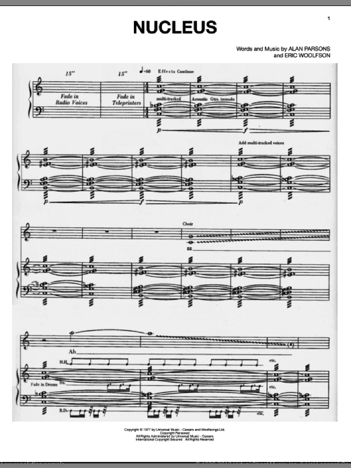 Nucleus sheet music for voice, piano or guitar by Alan Parsons Project, Alan Parsons and Eric Woolfson, intermediate skill level