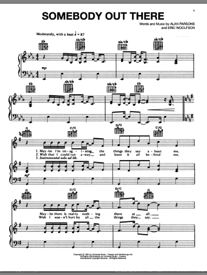 Somebody Out There sheet music for voice, piano or guitar by Alan Parsons Project, Alan Parsons and Eric Woolfson, intermediate skill level