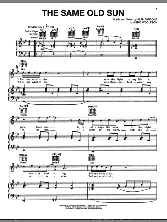 The Same Old Sun sheet music for voice, piano or guitar by Eric Woolfson