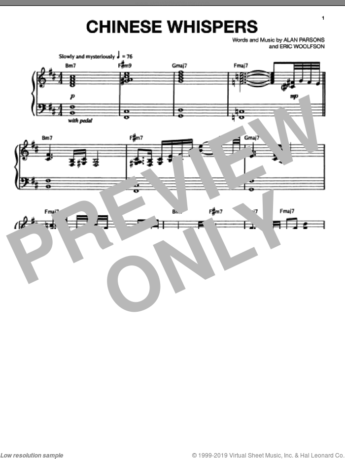 Chinese Whispers sheet music for voice, piano or guitar by Eric Woolfson. Score Image Preview.