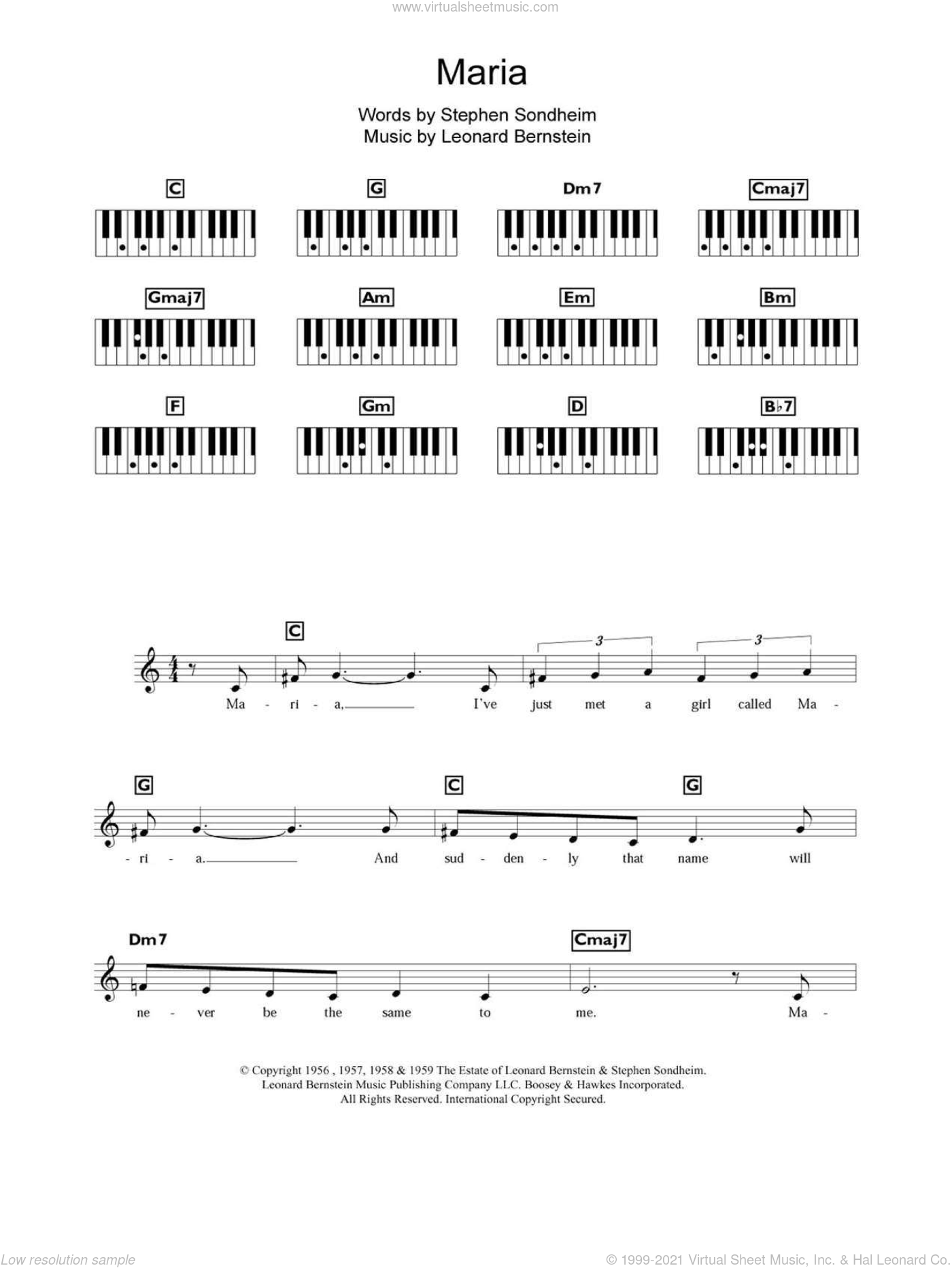 Maria sheet music for piano solo (chords, lyrics, melody) by Leonard Bernstein, West Side Story (Musical) and Stephen Sondheim, intermediate piano (chords, lyrics, melody)