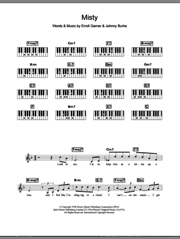 Misty sheet music for piano solo (chords, lyrics, melody) by Erroll Garner and John Burke, intermediate piano (chords, lyrics, melody). Score Image Preview.