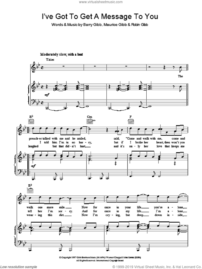 I've Got To Get A Message To You sheet music for voice, piano or guitar by Bee Gees, Barry Gibb, Maurice Gibb and Robin Gibb. Score Image Preview.