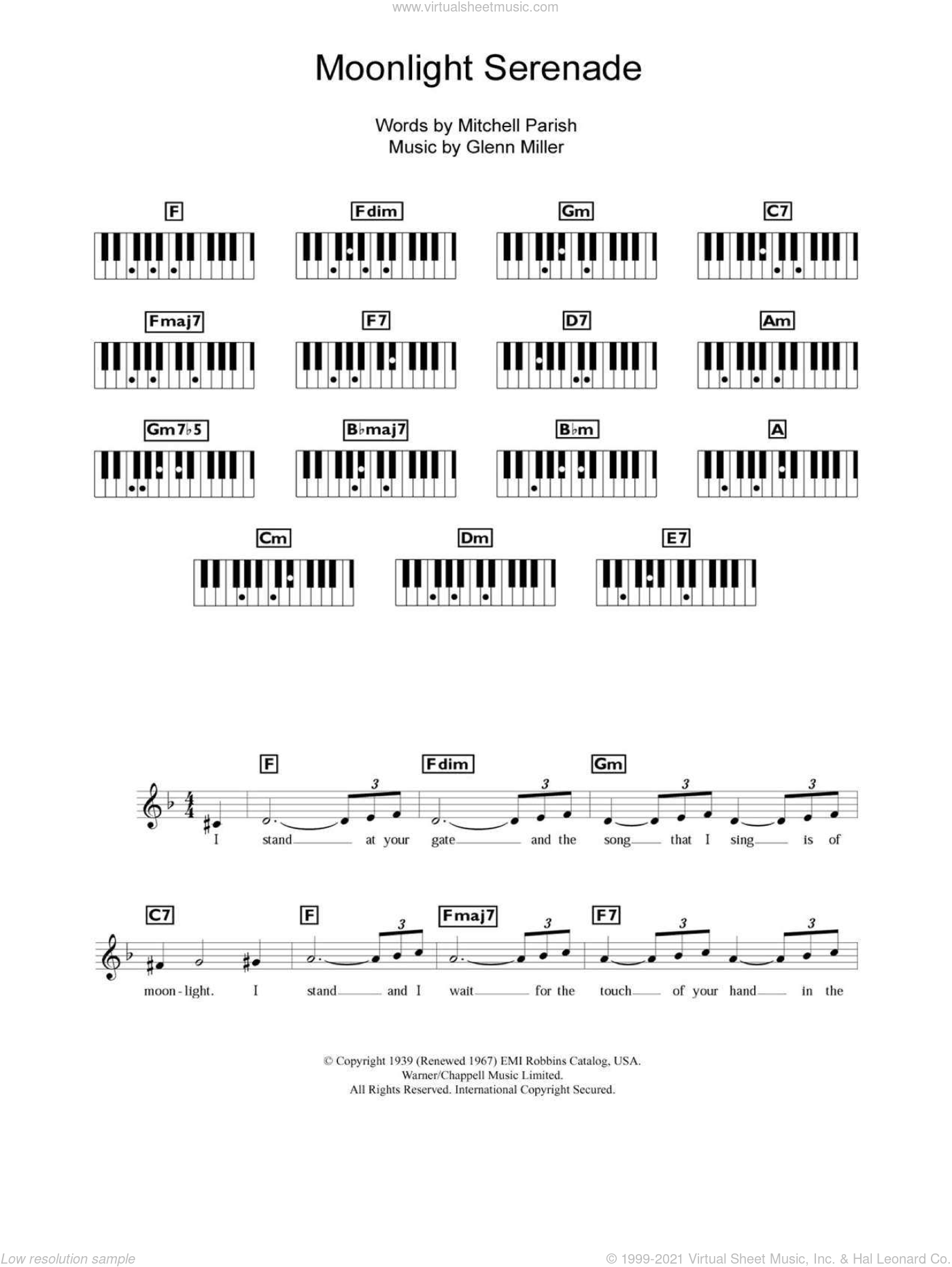 Moonlight Serenade sheet music for piano solo (chords, lyrics, melody) by Mitchell Parish and Glenn Miller. Score Image Preview.