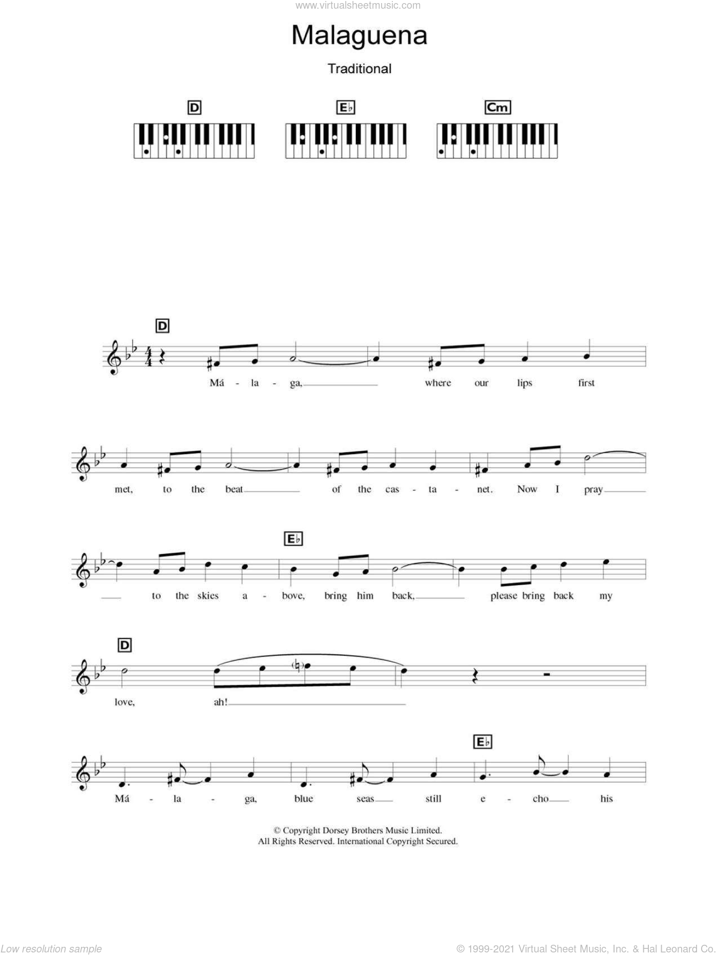 Malaguena sheet music for piano solo (chords, lyrics, melody) by Ernesto Lecuona and Connie Francis