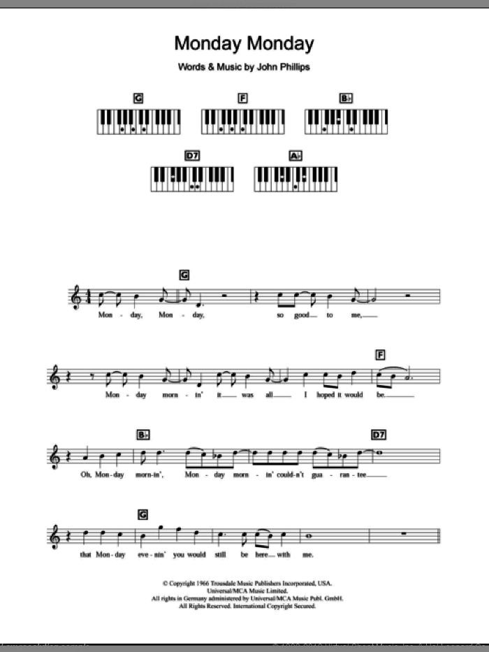 Monday, Monday sheet music for piano solo (chords, lyrics, melody) by John Phillips and The Mamas & The Papas. Score Image Preview.