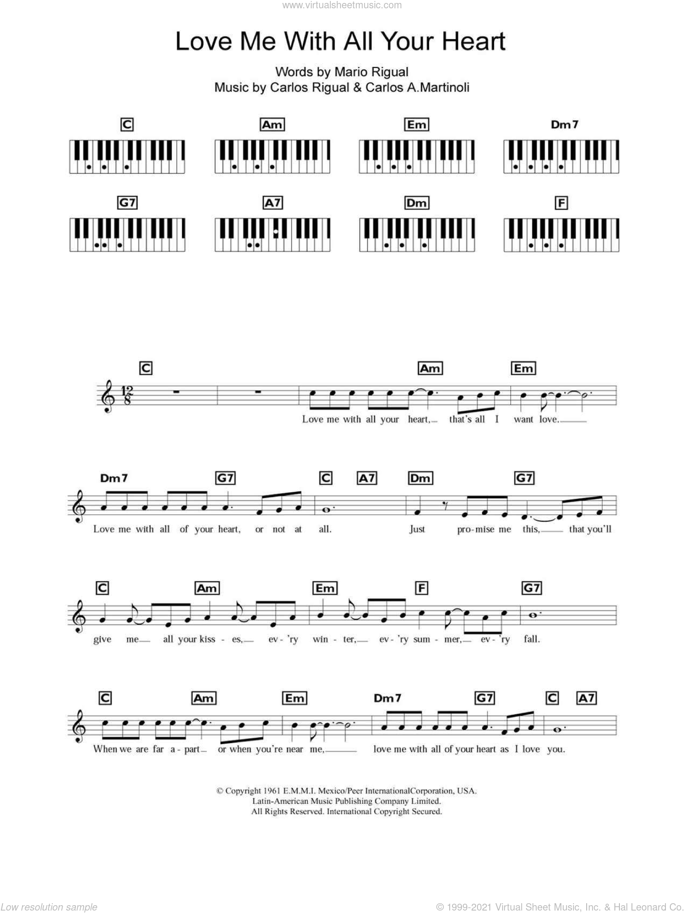 Love Me With All Your Heart (Cuando Calienta El Sol) sheet music for piano solo (chords, lyrics, melody) by Mario Rigual