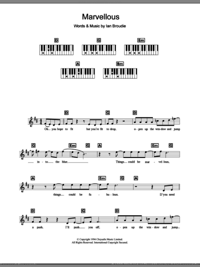 Marvellous sheet music for piano solo (chords, lyrics, melody) by Ian Broudie and The Lightning Seeds. Score Image Preview.