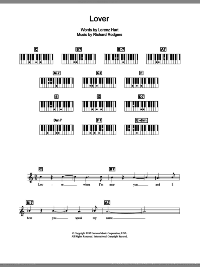 Lover sheet music for piano solo (chords, lyrics, melody) by Rodgers & Hart, Lorenz Hart and Richard Rodgers, intermediate piano (chords, lyrics, melody). Score Image Preview.