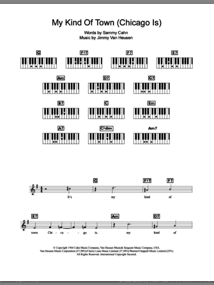 My Kind Of Town (Chicago Is) sheet music for piano solo (chords, lyrics, melody) by Frank Sinatra, Jimmy van Heusen and Sammy Cahn, intermediate piano (chords, lyrics, melody)