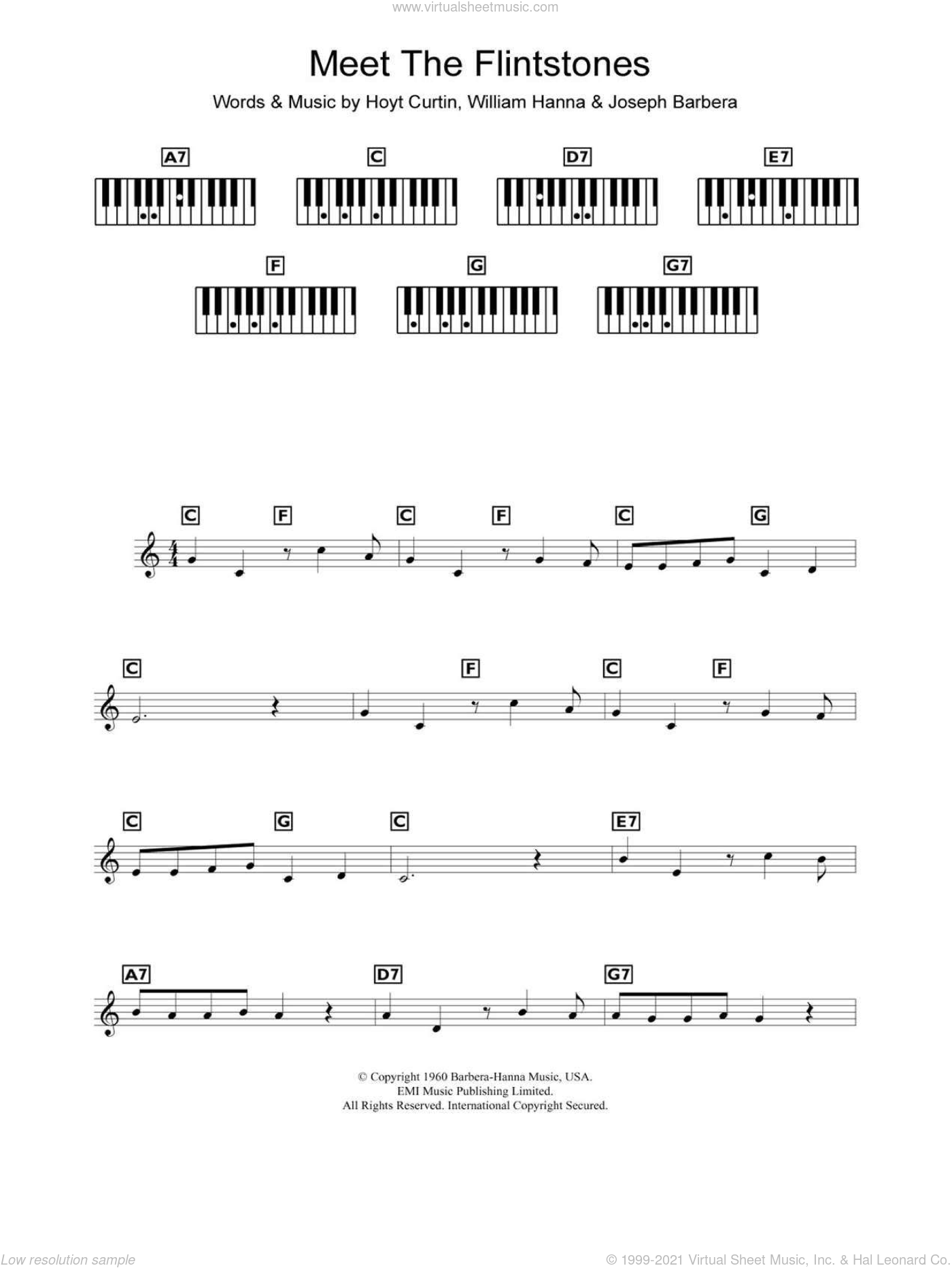 (Meet The) Flintstones sheet music for piano solo (chords, lyrics, melody) by Hoyt Curtin, Joseph Barbera and William Hanna, intermediate piano (chords, lyrics, melody). Score Image Preview.