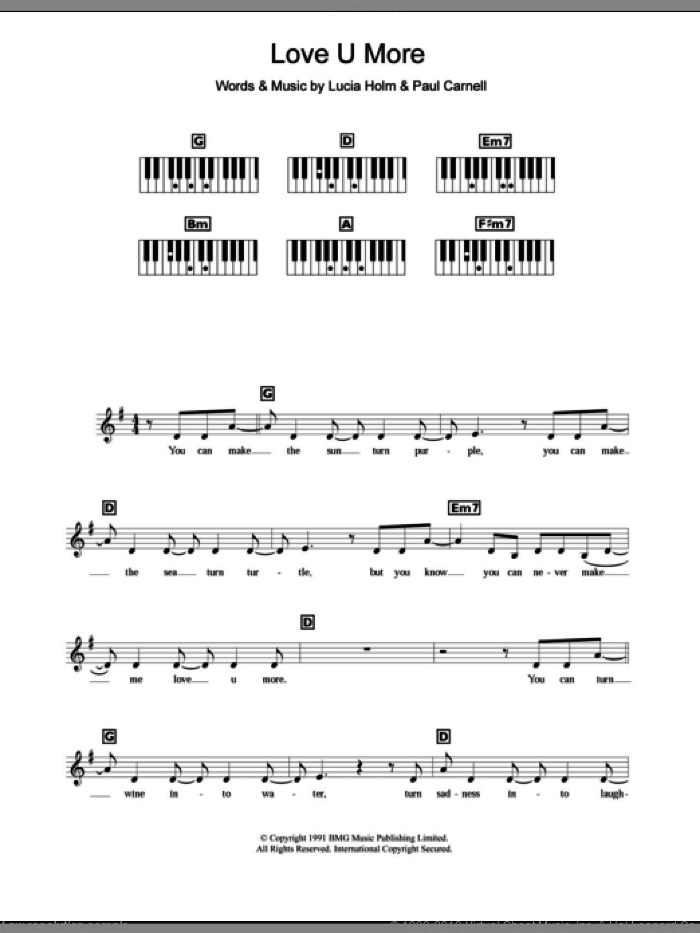 Love U More sheet music for piano solo (chords, lyrics, melody) by Paul Carnell and Steps. Score Image Preview.
