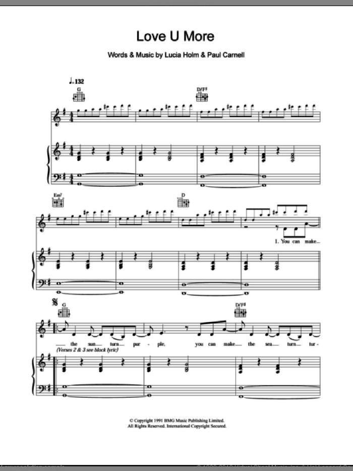 Love U More sheet music for voice, piano or guitar by Paul Carnell and Steps. Score Image Preview.