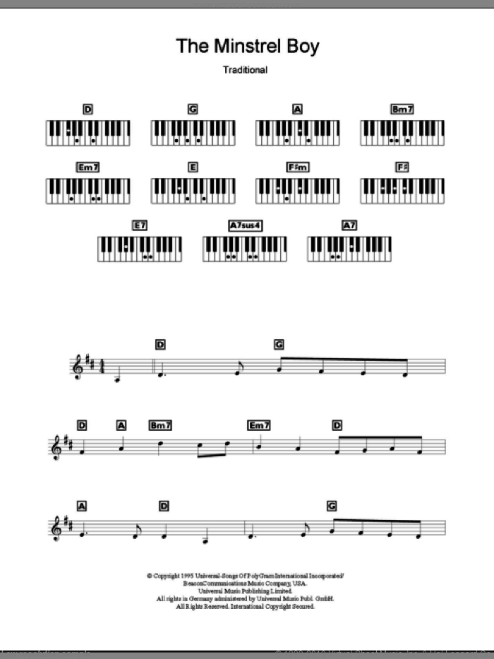 The Minstrel Boy sheet music for piano solo (chords, lyrics, melody) , Andrea Corr, Sharon Corr and The Corrs. Score Image Preview.